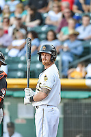 Ryan Jackson (5) of the Salt Lake Bees at bat against the Fresno Grizzlies in Pacific Coast League action at Smith's Ballpark on June 13, 2015 in Salt Lake City, Utah.  (Stephen Smith/Four Seam Images)