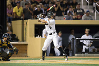 Jake Mueller (6) of the Wake Forest Demon Deacons at bat against the West Virginia Mountaineers in Game Four of the Winston-Salem Regional in the 2017 College World Series at David F. Couch Ballpark on June 3, 2017 in Winston-Salem, North Carolina.  The Demon Deacons walked-off the Mountaineers 4-3.  (Brian Westerholt/Four Seam Images)