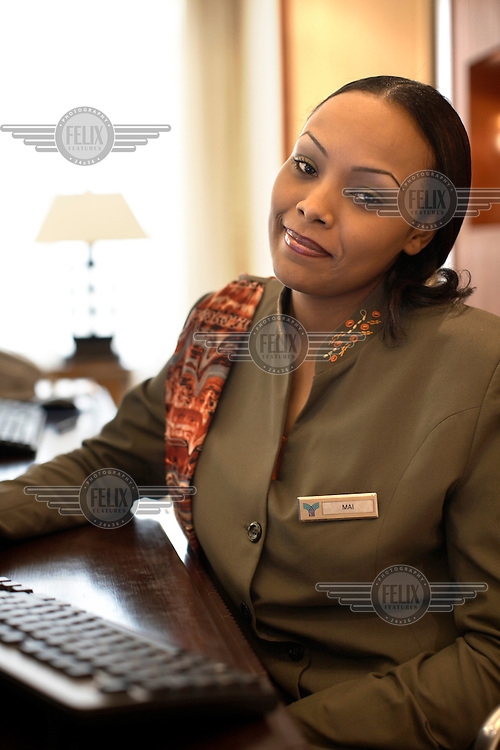 Club Rotana receptionist, Mai Hammoud, pictured at the Rotana Hotel in Khartoum. The hotel opened in February 2007 and was the first five star hotel in Khartoum.