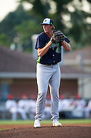 Vermont Lake Monsters starting pitcher A.J. Puk (45) gets ready to deliver the first pitch of his professional debut in the first inning during a game against the Auburn Doubledays on July 12, 2016 at Falcon Park in Auburn, New York.  Auburn defeated Vermont 3-1.  (Mike Janes/Four Seam Images)