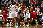 Apr. 6, 2014; Notre Dame Fighting Irish forward Ariel Braker injured her eye during the game against the Maryland Terrapins in the semifinals of the NCAA Final Four tournament at the Bridgestone Arena in Nashville, Tenn.  Notre Dame defeated Maryland 87 to 61. Photo by Barbara Johnston/University of Notre Dame