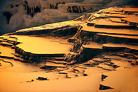 Photo & Image  of Pamukkale Travetine Terrace, Turkey, at sunset. Images of the white Calcium carbonate rock formations. Buy as stock photos or as photo art prints. 1 Pamukkale travetine terrace water cascades, composed of white Calcium carbonate rock formations, Pamukkale, Anatolia, Turkey
