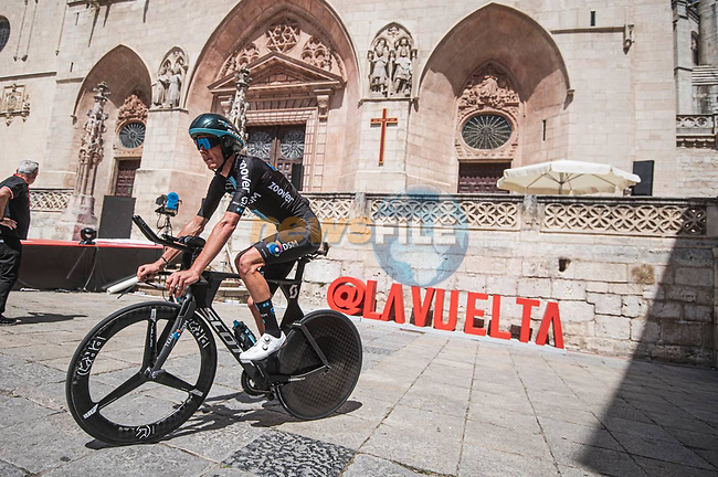 Team DSM riders recon Stage 1 of La Vuelta d'Espana 2021, a 7.1km individual time trial around Burgos, Spain. 14th August 2021. <br /> Picture: Unipublic/Charly Lopez | Cyclefile<br /> <br /> All photos usage must carry mandatory copyright credit (© Cyclefile | Unipublic/Charly Lopez)