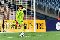 FOXBOROUGH, MA - SEPTEMBER 5: Pablo Jara #1 of Tormenta FC takes a goal kick during a game between Tormenta FC and New England Revolution II at Gillette Stadium on September 5, 2021 in Foxborough, Massachusetts.