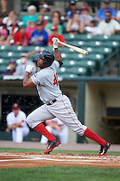 Pawtucket Red Sox outfielder Carlos Peguero (45) at bat during a game against the Rochester Red Wings on July 1, 2015 at Frontier Field in Rochester, New York.  Rochester defeated Pawtucket 8-4.  (Mike Janes/Four Seam Images)