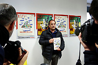 "Domenico (Mimmo) Lucano, Mayor of Riace<br /> Rome January 30th 2019. Press conference in occasion of the end of the petition for the candidacy of Mimmo Lucano for Nobel Peace Prize. <br /> The mayor of Riace, made headlines around the world for his unusual programme that welcomed migrants to the sparsely-populated town in Calabria, giving them abandoned homes and on-the-job training, in the hope that the new arrivals would rejuvenate the economy. Domenico Lucano, waiting for judgment, was detained last October over his alleged involvement in organizing ""marriages of convenience"" for immigration purposes. <br /> Foto Samantha Zucchi Insidefoto"