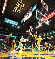 SAN FRANCISCO, CA - NOVEMBER 09: San Francisco, CA - November 9, 2019: Lexie Hull, Ashten Prechtel at the Chase Center. The Stanford Cardinal defeated the USF Dons 97-71. during a game between University of San Francisco and Stanford Basketball W at Chase Center on November 09, 2019 in San Francisco, California.