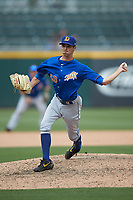 Durham Bulls relief pitcher Hoby Milner (50) in action against the Charlotte Knights at BB&T BallPark on May 27, 2019 in Charlotte, North Carolina. The Bulls defeated the Knights 10-0. (Brian Westerholt/Four Seam Images)