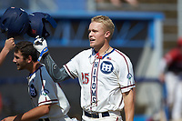 Rudy Maxwell (25) (Duke) of the High Point-Thomasville HiToms taps helmets with a teammate after hitting a home run against the Old North State League West All-Stars at Hooker Field on July 11, 2020 in Martinsville, VA. The HiToms defeated the Old North State League West All-Stars 12-10. (Brian Westerholt/Four Seam Images)