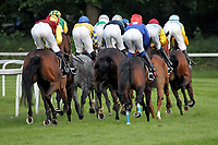 15th May 2020, Muenchen-Riem racecourse, Munich, Germany. Flat racing;  rear view as the pack takes the corner