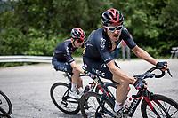 Geraint Thomas (GBR/Ineos Grenadiers) up the climb towards La Plagne (HC/2072m/17.1km@7.5%) <br /> <br /> 73rd Critérium du Dauphiné 2021 (2.UWT)<br /> Stage 7 from Saint-Martin-le-Vinoux to La Plagne (171km)<br /> <br /> ©kramon
