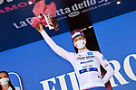 Race leader Joao Almeida (POR) Deceuninck-Quick Step also retains the young riders Maglia Bianca at the end of Stage 8 of the 103rd edition of the Giro d'Italia 2020 running 200km from Giovinazzo to Vieste, Sicily, Italy. 10th October 2020.  <br /> Picture: LaPresse/Gian Mattia D'Alberto | Cyclefile<br /> <br /> All photos usage must carry mandatory copyright credit (© Cyclefile | LaPresse/Gian Mattia D'Alberto)