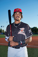 Salem-Keizer Volcanoes infielder Wander Franco (23) poses for a photo before a Northwest League game against the Hillsboro Hops at Ron Tonkin Field on September 1, 2018 in Hillsboro, Oregon. The Salem-Keizer Volcanoes defeated the Hillsboro Hops by a score of 3-1. (Zachary Lucy/Four Seam Images)