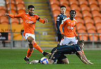 Blackpool's Grant Ward battles for the ball<br /> <br /> Photographer Dave Howarth/CameraSport<br /> <br /> EFL Trophy - Northern Section - Group G - Blackpool v Leeds United U21 - Wednesday 11th November 2020 - Bloomfield Road - Blackpool<br />  <br /> World Copyright © 2020 CameraSport. All rights reserved. 43 Linden Ave. Countesthorpe. Leicester. England. LE8 5PG - Tel: +44 (0) 116 277 4147 - admin@camerasport.com - www.camerasport.com