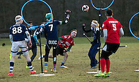 08 MAR 2015 - NOTTINGHAM, GBR - Southampton Quidditch Club 1's Robbie Young (centre) shoots during the 2015 British Quidditch Cup final against Radcliffe Chimeras at Woollaton Hall and Deer Park in Nottingham, Great Britain. Southampton Quidditch Club 1 eventually beat reigning European Cup holders Radcliffe Chimeras 120-90 to take the title (PHOTO COPYRIGHT © 2015 NIGEL FARROW, ALL RIGHTS RESERVED)