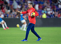 ORLANDO, FL - MARCH 05: Vlatko Andonovski of the United States talks to his team during a game between England and USWNT at Exploria Stadium on March 05, 2020 in Orlando, Florida.