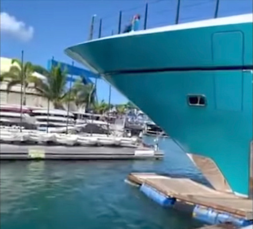 the moment a £65m superyacht crashes into dock . . . twice