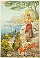 Europe/France/06/Alpes-Maritimes/Menton: Musée de la préhistoire- Vieille affiche représentant la récolte des  Citrons de Menton et la Vieile ville