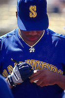 TEMPE, AZ - Ken Griffey Jr. of the Seattle Mariners signs an autograph for a fan before a spring training game at Tempe Diablo Stadium in Tempe, Arizona in 1991. Photo by Brad Mangin