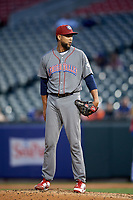Lehigh Valley IronPigs relief pitcher Pedro Beato (44) looks in for the sign during a game against the Buffalo Bisons on June 23, 2018 at Coca-Cola Field in Buffalo, New York.  Lehigh Valley defeated Buffalo 4-1.  (Mike Janes/Four Seam Images)
