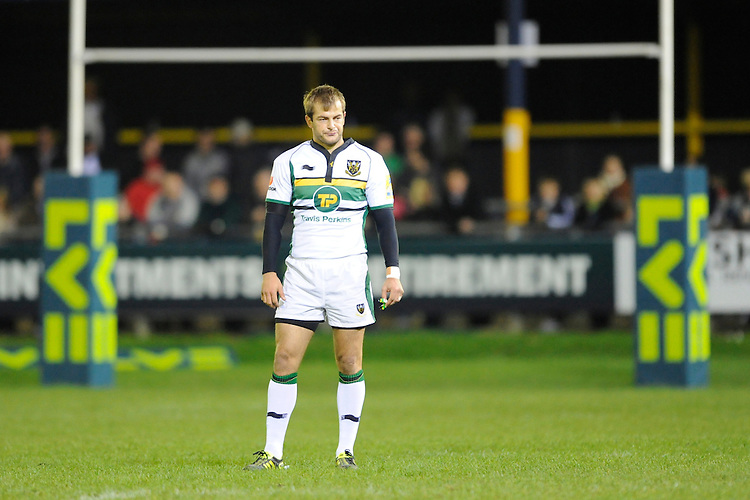 Stephen Myler of Northampton Saints looks on during the LV= Cup second round match between Ospreys and Northampton Saints at Riverside Hardware Brewery Field, Bridgend (Photo by Rob Munro)