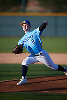 Cole Schroeder (8) of Christian Brothers College High School in Foristell, Missouri during the Baseball Factory All-America Pre-Season Tournament, powered by Under Armour, on January 13, 2018 at Sloan Park Complex in Mesa, Arizona.  (Mike Janes/Four Seam Images)