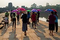 Tourists gathering during Sunrise at Angkor Wat, Cambodia