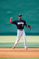 Chattanooga Lookouts shortstop Nick Gordon (5) throws to first base during a game against the Jackson Generals on April 29, 2017 at The Ballpark at Jackson in Jackson, Tennessee.  Jackson defeated Chattanooga 7-4.  (Mike Janes/Four Seam Images)