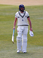 Ex Yorkshire player Jack Leaning now playing for Kent trudges off after being dismissed by Jordan Thompson during Kent CCC vs Yorkshire CCC, LV Insurance County Championship Group 3 Cricket at The Spitfire Ground on 18th April 2021