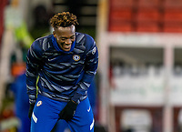11th February 2021; Oakwell Stadium, Barnsley, Yorkshire, England; English FA Cup 5th round Football, Barnsley FC versus Chelsea; Tammy Abraham of Chelsea laughing ahead of kick off