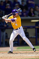 LSU Tigers outfielder Raph Rhymes #4 at bat against the Auburn Tigers in the NCAA baseball game on March 24, 2013 at Alex Box Stadium in Baton Rouge, Louisiana. LSU defeated Auburn 5-1. (Andrew Woolley/Four Seam Images).