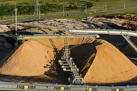 URUGUAY Fray Bentos ,  UPM pulp mill produce ECF (elemental chlorine free) pulp from FSC eucalyptus wood, Capacity, tonnes annually 1,100,000 and the mill produces electricity and steam for own consumption and in addition 20-30 MW electricity for the national grid , factory former known as BOTNIA, wood chips from eucalyptus trees / URUGUAY Fray Bentos , Zellulosefabrik und Biomassekraftwerk der UPM ( vorher BOTNIA ) am Ufer des Fluss Uruguay , Herstellung von Zellulose aus FSC Eukalytus Holz fuer die Papierherstellung , ein eigenes Biomassekraftwerk produziert 40 MW Strom und Dampf