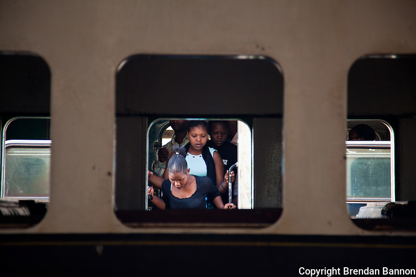 Women filing out of a recently arrived train the Nairobi.