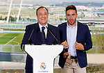 Florentino Perez and the Real Madrid's new player Daniel Carvajal Ramos during his official presentation at the Santiago Bernabeu stadium in Madrid. July 05, 2013. (ALTERPHOTOS/Alex Cid)