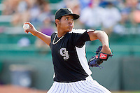 Grand Junction Rockies relief pitcher Raul Fernandez (16) in action against the Billings Mustangs at Suplizio Field on July 25, 2012 in Grand Junction, Colorado.  The Mustangs defeated the Rockies 12-11 in 10 innings.  (Brian Westerholt/Four Seam Images)