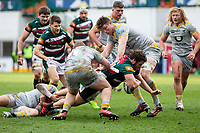 20th February 2021; Welford Road Stadium, Leicester, Midlands, England; Premiership Rugby, Leicester Tigers versus Wasps; Julian Montoya of Leicester Tigers breaks through past Tom West of Wasps and Will Rowlands of Wasps on his 100th senior appearance for the club