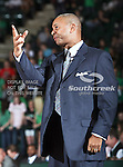 North Texas Mean Green head coach Johnny Jones in action during the NCAA  basketball game between the University of Louisiana at Monroe Warhawks and the University of North Texas Mean Green at the North Texas Coliseum,the Super Pit, in Denton, Texas. ULM defeated UNT 82 to 75...