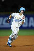 Brandon Riley (1) of the North Carolina Tar Heels hustles towards third base against the Miami Hurricanes in the second semifinal of the 2017 ACC Baseball Championship at Louisville Slugger Field on May 27, 2017 in Louisville, Kentucky. The Tar Heels defeated the Hurricanes 12-4. (Brian Westerholt/Four Seam Images)