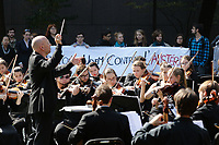 Montreal, CANADA - File -- Music conservatory students protest against the  austerity measures proposed  by the Quebec Liberal Goverment, Sept. 30, 2014.