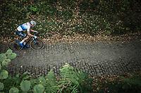 European Champion Mathieu Van der Poel (NED/Corendon Circus) riding the cobbles of the Koppenberg.<br /> <br /> Koppenbergcross Belgium 2018