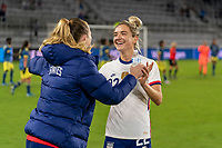 ORLANDO, FL - JANUARY 18: Samantha Mewis #3 of the USWNT celebrates with her sister, Kristie Mewis #22 after a game between Colombia and USWNT at Exploria Stadium on January 18, 2021 in Orlando, Florida.