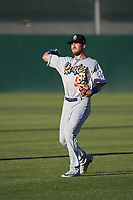 Drew Jackson (5) of the Rancho Cucamonga Quakes throws in the outfield before a game against the Lancaster JetHawks at The Hanger on April 28, 2017 in Lancaster, California. Lancaster defeated Rancho Cucamonga, 16-10. (Larry Goren/Four Seam Images)
