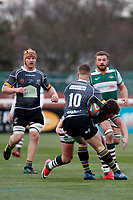 Shane O'Leary of Nottingham Rugby eludes Harry Sloan of Ealing Trailfinders during the Championship Cup Quarter Final match between Ealing Trailfinders and Nottingham Rugby at Castle Bar , West Ealing , England  on 2 February 2019. Photo by Carlton Myrie / PRiME Media Images.