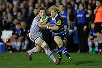 Tom Biggs of Bath Rugby (right) snaffles the loose ball from Billy Twelvetrees of Leicester Tigers during the LV= Cup semi final match between Bath Rugby and Leicester Tigers at The Recreation Ground, Bath (Photo by Rob Munro, Fotosports International)