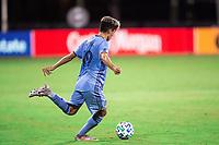 LAKE BUENA VISTA, FL - JULY 14: Jesus Medina #19 of NYCFC dribbles the ball during a game between Orlando City SC and New York City FC at Wide World of Sports on July 14, 2020 in Lake Buena Vista, Florida.