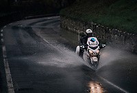 torrential rain makes manouvering in the descents extremely tricky (with water even coming out of the putholes); even so for the race motos<br /> <br /> 76th Paris-Nice 2018<br /> Stage 8: Nice > Nice (110km)