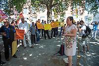 """Kundgebung von Mitgliedern der tuerkischen Partei HDP und Kurden vor dem Auswaertigen Amt in Berlin.<br /> Am Donnerstag den 6. August 2015 protestierten Mitglieder der tuerkischen Partei HDP und Kurden vor dem Auswaertigen Amt in Berlin gegen die fortdauernden Angriffe des tuerkischen Militaers gegen Kurden in der Tuerkei, Syrien und dem Irak.<br /> An der Kundgebung nahemn auch die Bundestagsabgeordnete der Linkspartei, Sevim Dagdelen, der HDP-Abgeordnete aus der kurdischen Stadt Diybakir, Ziya Pir und der Vorsitzende desdeutsch-kurdischen Verein Nav-Dem, Yuksel Koc teil. Die Kundgebungsteilnehmer riefen unter anderem Parolen """"Deutsche Panzer raus aus Kurdistan"""" und Freiheit fuer Rojava - der autonomen kurdischen Region in Syrien.<br /> Im Bild: Sevim Dagdelen.<br /> 6.8.2015, Berlin<br /> Copyright: Christian-Ditsch.de<br /> [Inhaltsveraendernde Manipulation des Fotos nur nach ausdruecklicher Genehmigung des Fotografen. Vereinbarungen ueber Abtretung von Persoenlichkeitsrechten/Model Release der abgebildeten Person/Personen liegen nicht vor. NO MODEL RELEASE! Nur fuer Redaktionelle Zwecke. Don't publish without copyright Christian-Ditsch.de, Veroeffentlichung nur mit Fotografennennung, sowie gegen Honorar, MwSt. und Beleg. Konto: I N G - D i B a, IBAN DE58500105175400192269, BIC INGDDEFFXXX, Kontakt: post@christian-ditsch.de<br /> Bei der Bearbeitung der Dateiinformationen darf die Urheberkennzeichnung in den EXIF- und  IPTC-Daten nicht entfernt werden, diese sind in digitalen Medien nach §95c UrhG rechtlich geschuetzt. Der Urhebervermerk wird gemaess §13 UrhG verlangt.]"""