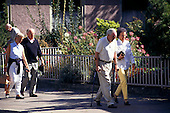 Ragaz, Switzerland. Elderly tourists walking.