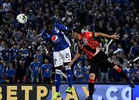 BOGOTÁ-COLOMBIA, 07–04-2019: Fabián González de Millonarios, anota gol de cabeza a Juan Camilo Chaverra, guardameta (Fuera de Cuadro), durante partido de la fecha 14 entre Millonarios y Cúcuta Deportivo, por la Liga Águila I 2019, jugado en el estadio Nemesio Camacho El Campín de la ciudad de Bogotá. / Fabian Gonzalez de Millonarios scored a head goal to Juan Camilo Chaverra goalkeeper of Cucuta Deportivo, during a match of the 14th date between Millonarios and Cucuta Deportivo, for the Aguila Leguaje I 2019 played at the Nemesio Camacho El Campin Stadium in Bogota city, Photo: VizzorImage / Luis Ramírez / Staff.