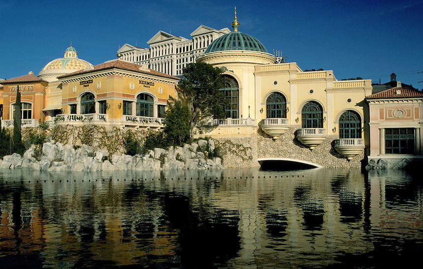 An exterior view of the Bellagio Resort reflected in the water of its lake. Las Vegas, Nevada.